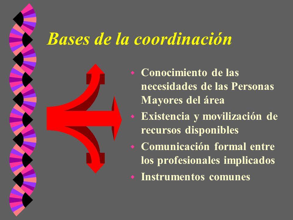 Bases de la coordinación w Conocimiento de las necesidades de las Personas Mayores del área w Existencia y movilización de recursos disponibles w Comu