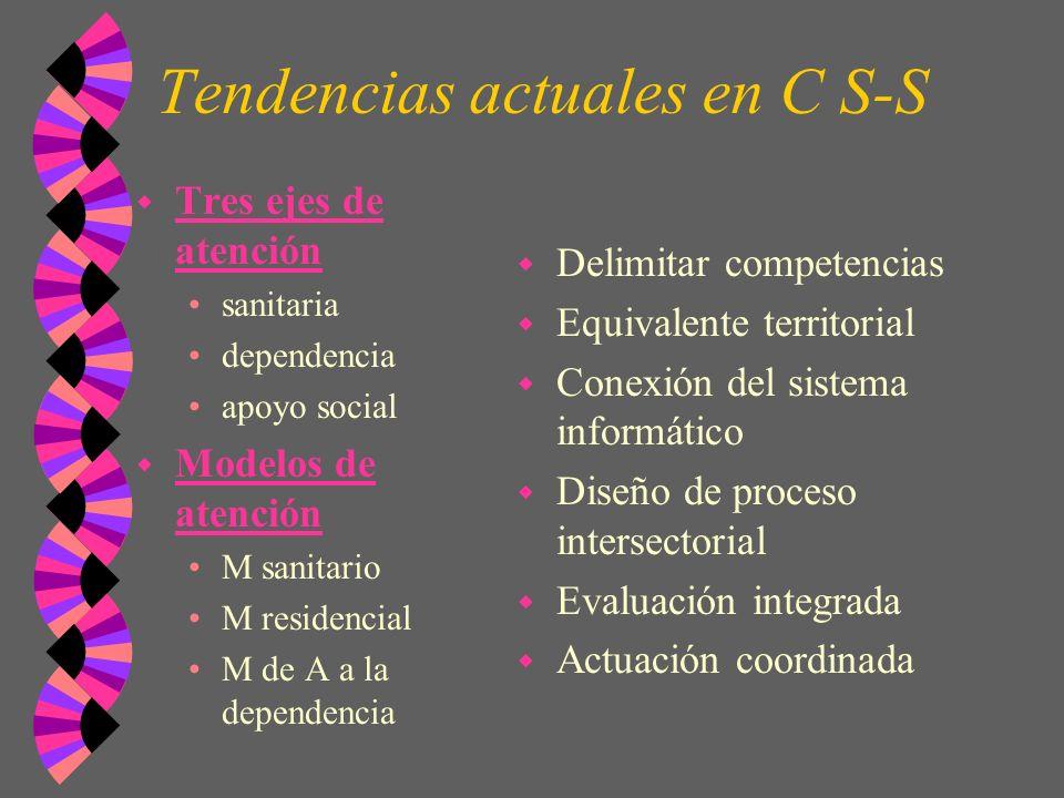 Tendencias actuales en C S-S w Tres ejes de atención sanitaria dependencia apoyo social w Modelos de atención M sanitario M residencial M de A a la de
