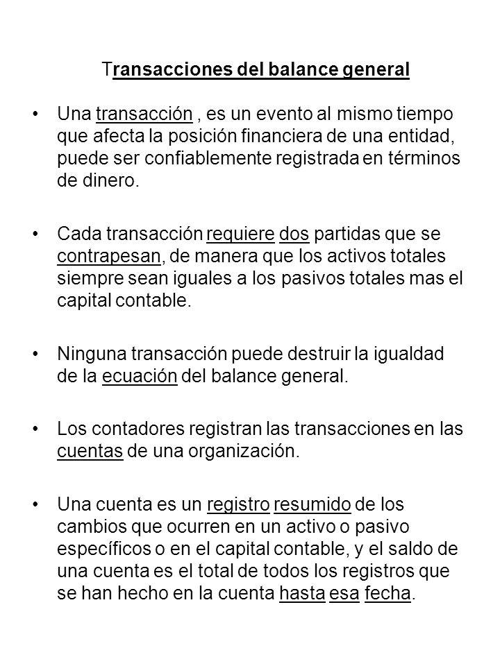 Transacciones del balance general Una transacción, es un evento al mismo tiempo que afecta la posición financiera de una entidad, puede ser confiablem