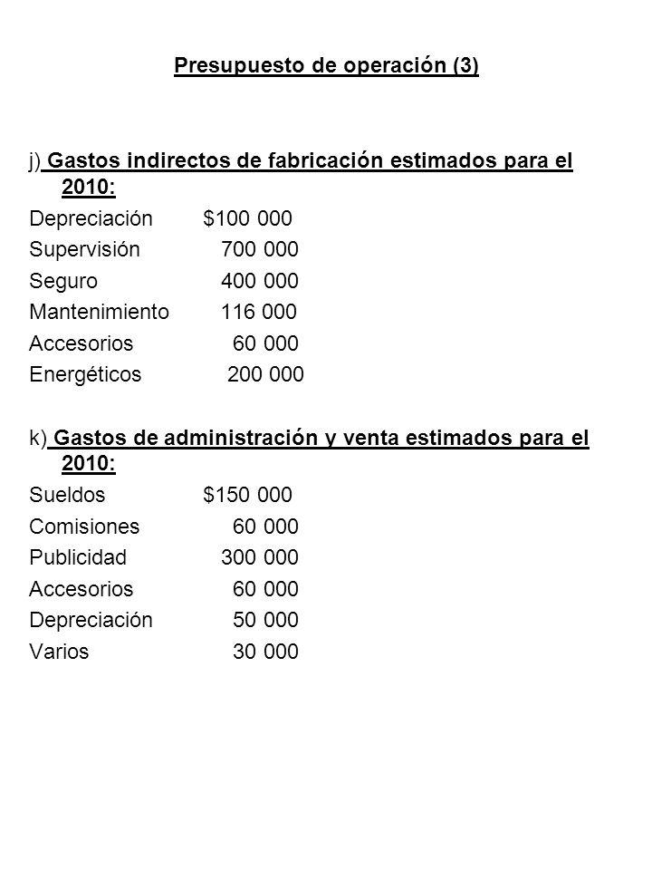 Presupuesto de operación (3) j) Gastos indirectos de fabricación estimados para el 2010: Depreciación $100 000 Supervisión 700 000 Seguro 400 000 Mant