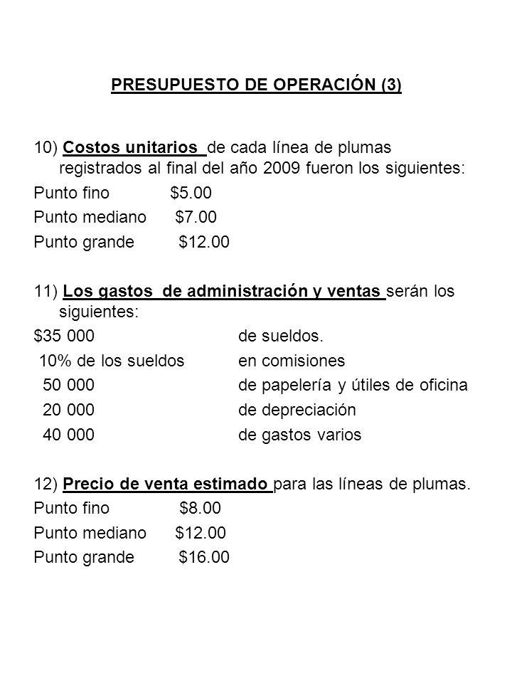 PRESUPUESTO DE OPERACIÓN (3) 10) Costos unitarios de cada línea de plumas registrados al final del año 2009 fueron los siguientes: Punto fino$5.00 Pun