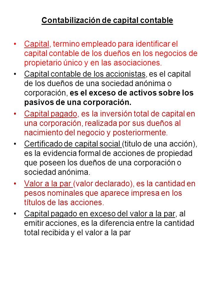 Contabilización de capital contable Capital, termino empleado para identificar el capital contable de los dueños en los negocios de propietario único