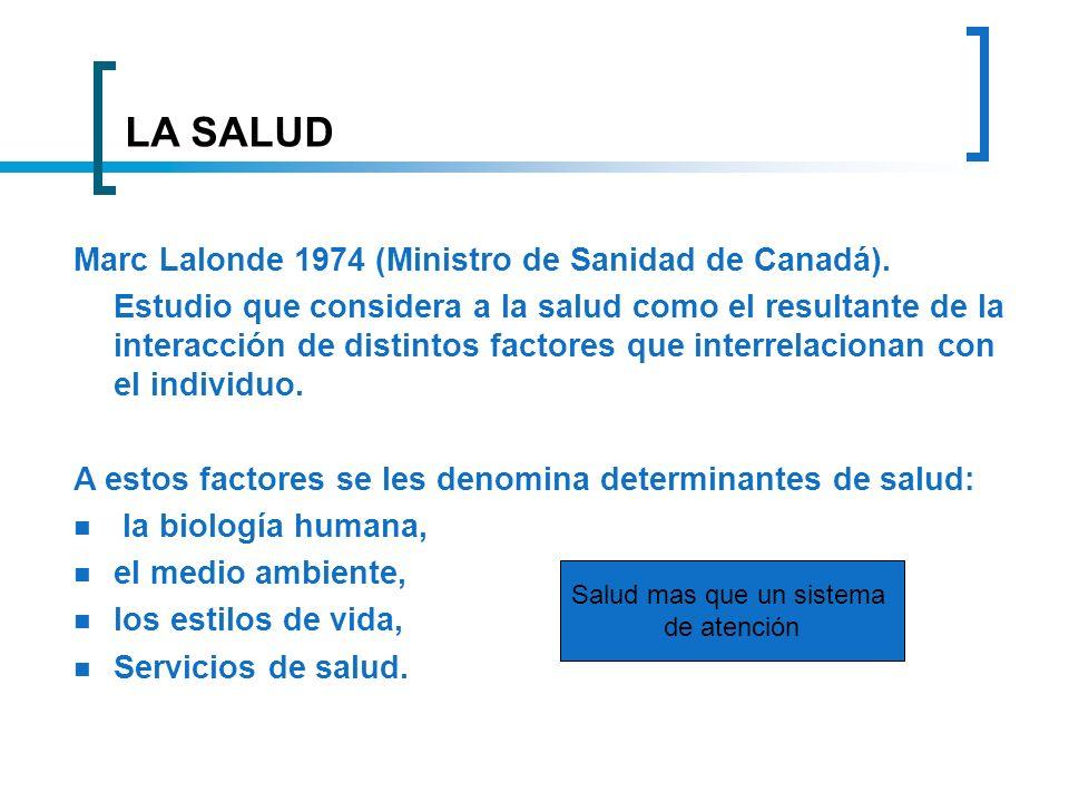 LA SALUD Marc Lalonde 1974 (Ministro de Sanidad de Canadá). Estudio que considera a la salud como el resultante de la interacción de distintos factore