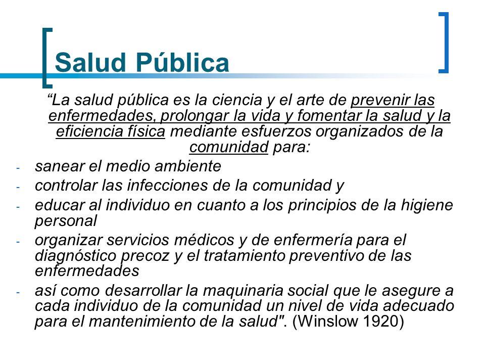 Salud Pública La salud pública es la ciencia y el arte de prevenir las enfermedades, prolongar la vida y fomentar la salud y la eficiencia física medi