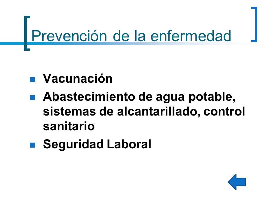 Prevención de la enfermedad Vacunación Abastecimiento de agua potable, sistemas de alcantarillado, control sanitario Seguridad Laboral