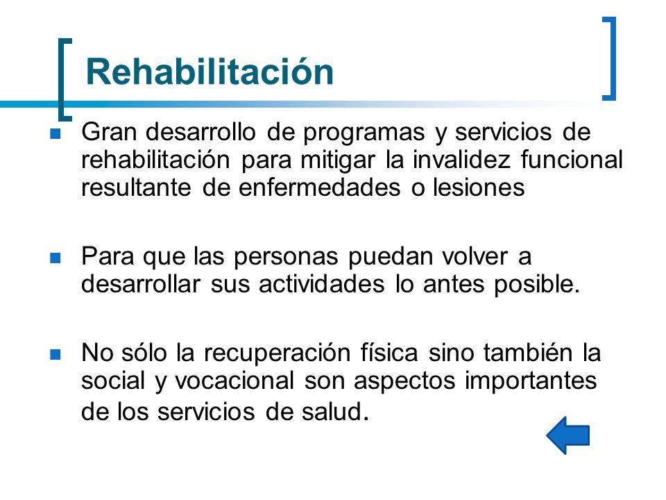 Rehabilitación Gran desarrollo de programas y servicios de rehabilitación para mitigar la invalidez funcional resultante de enfermedades o lesiones Pa