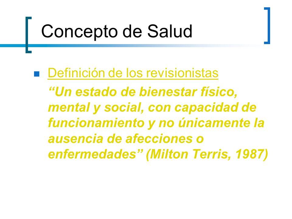Definición de los revisionistas Un estado de bienestar físico, mental y social, con capacidad de funcionamiento y no únicamente la ausencia de afeccio
