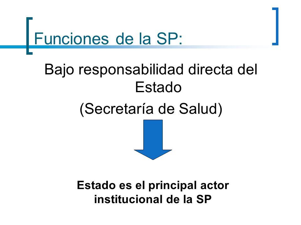 Funciones de la SP: Bajo responsabilidad directa del Estado (Secretaría de Salud) Estado es el principal actor institucional de la SP