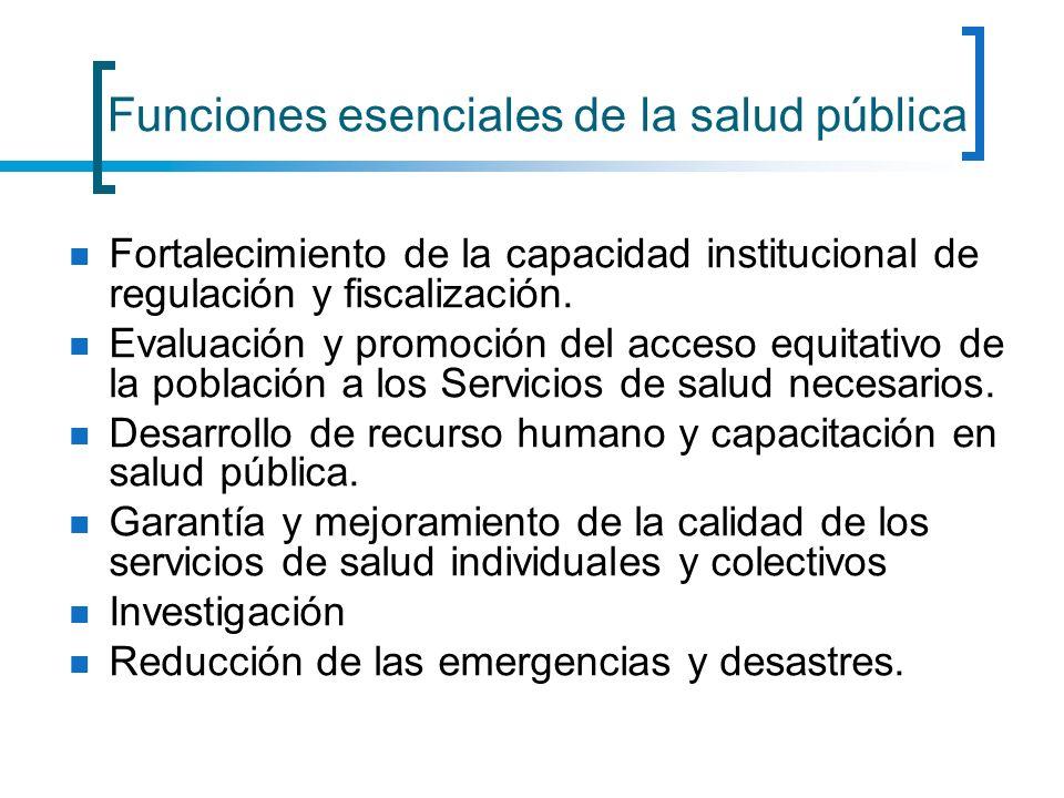Funciones esenciales de la salud pública Fortalecimiento de la capacidad institucional de regulación y fiscalización. Evaluación y promoción del acces