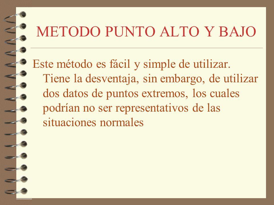 METODO PUNTO ALTO Y BAJO Este método es fácil y simple de utilizar. Tiene la desventaja, sin embargo, de utilizar dos datos de puntos extremos, los cu