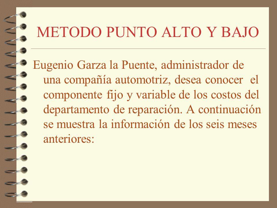 METODO PUNTO ALTO Y BAJO Eugenio Garza la Puente, administrador de una compañía automotriz, desea conocer el componente fijo y variable de los costos