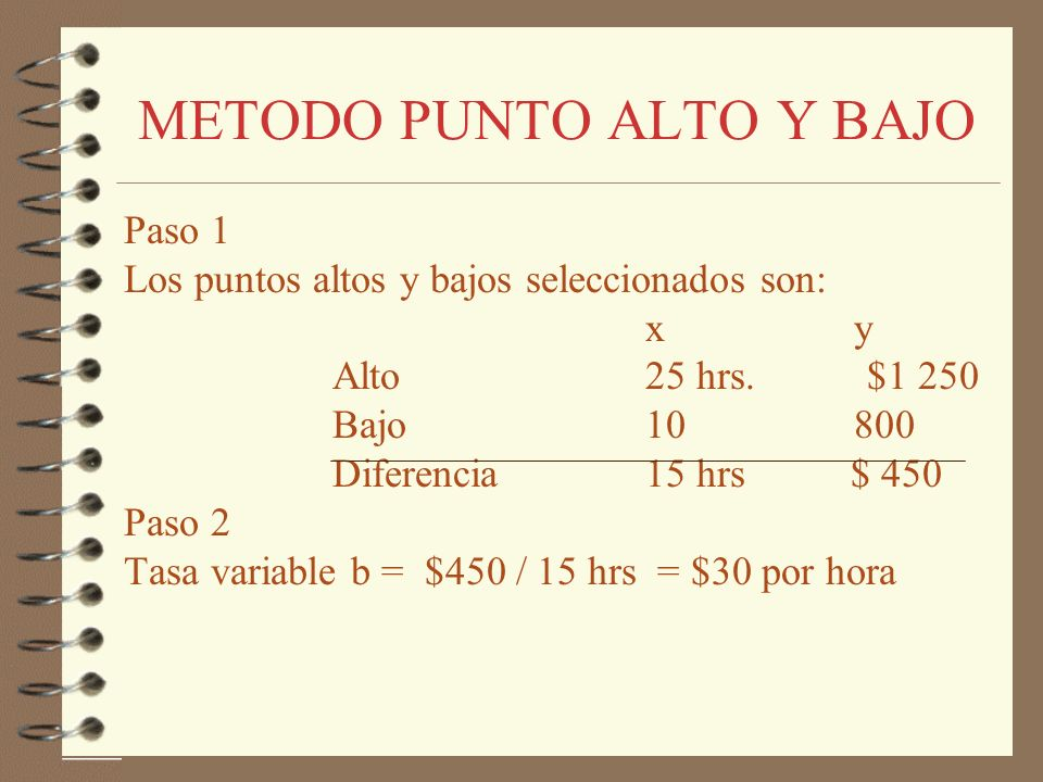 METODO PUNTO ALTO Y BAJO Paso 3 La porción del costo fijo se calcula como: AltoBajo Costos de reparación (y)1 250800 - Costo Variable(x) 25*30= 750 10*30= 300 500 500 Por consiguiente la fórmula de costo-volumen es : CT = 500 + 30X Costo total al nivel de 14 hrs = 500 + 30 (14) = 920