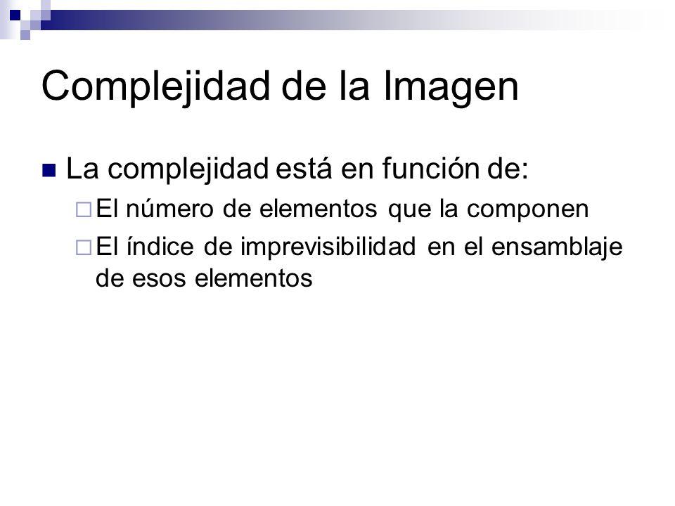 Complejidad de la Imagen La complejidad está en función de: El número de elementos que la componen El índice de imprevisibilidad en el ensamblaje de e