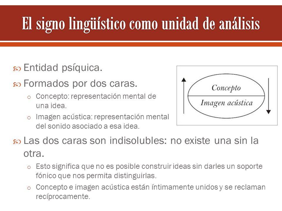 Entidad psíquica. Formados por dos caras. o Concepto: representación mental de una idea. o Imagen acústica: representación mental del sonido asociado