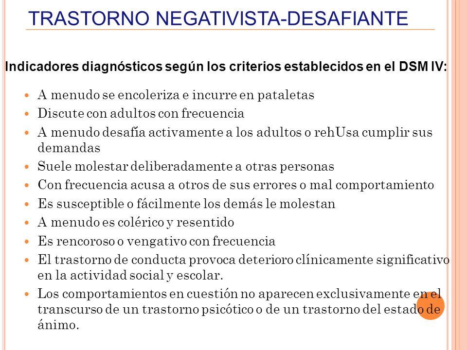 TRASTORNO NEGATIVISTA-DESAFIANTE Indicadores diagnósticos según los criterios establecidos en el DSM IV: A menudo se encoleriza e incurre en pataletas