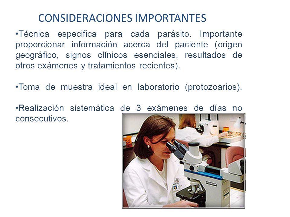 CONSIDERACIONES IMPORTANTES Técnica especifica para cada parásito. Importante proporcionar información acerca del paciente (origen geográfico, signos