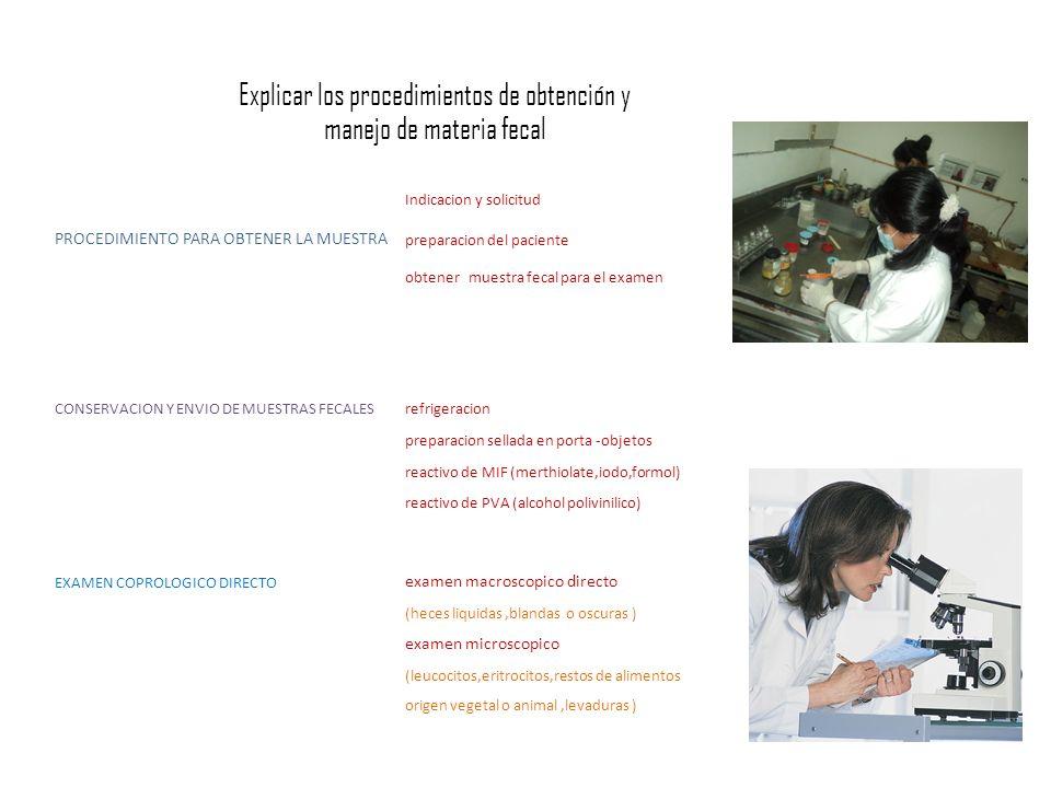 Indicacion y solicitud PROCEDIMIENTO PARA OBTENER LA MUESTRA preparacion del paciente obtener muestra fecal para el examen EXAMEN COPROLOGICO DIRECTO