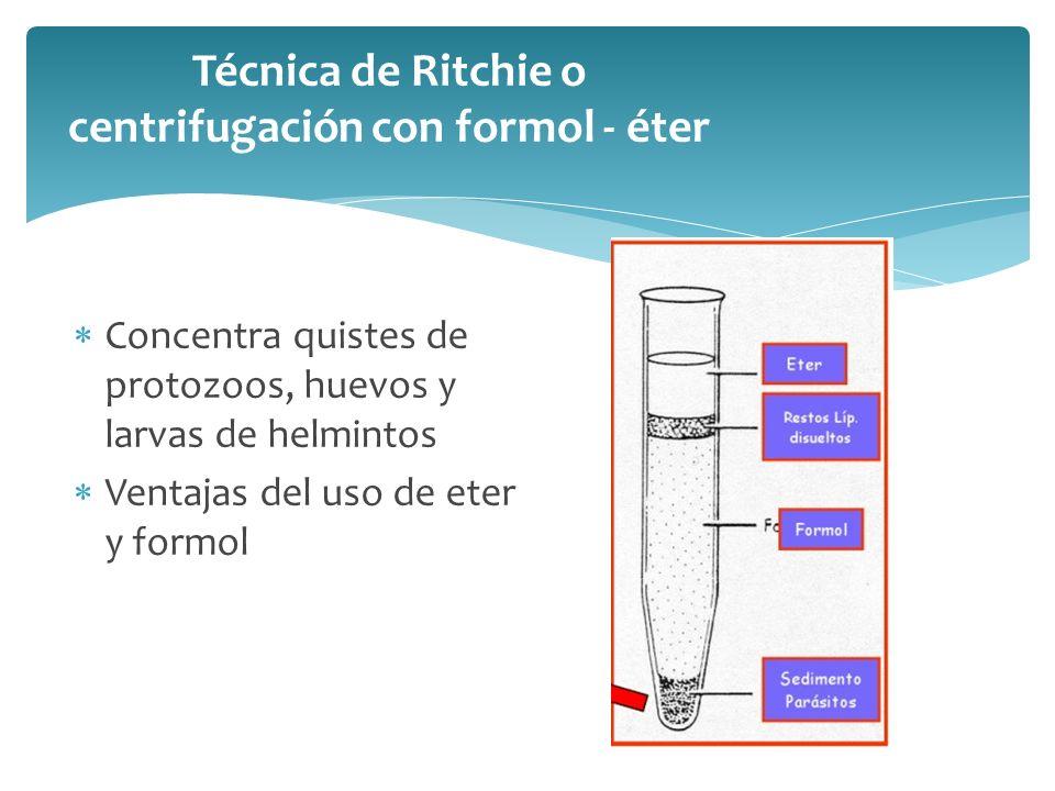 Técnica de Faust o de flotación con sulfato de zinc Utiliza medio liquido mas pesado que los parásitos Concentra quistes, huevos y larvas Desventaja: poco eficaz para Taenia spp., F.