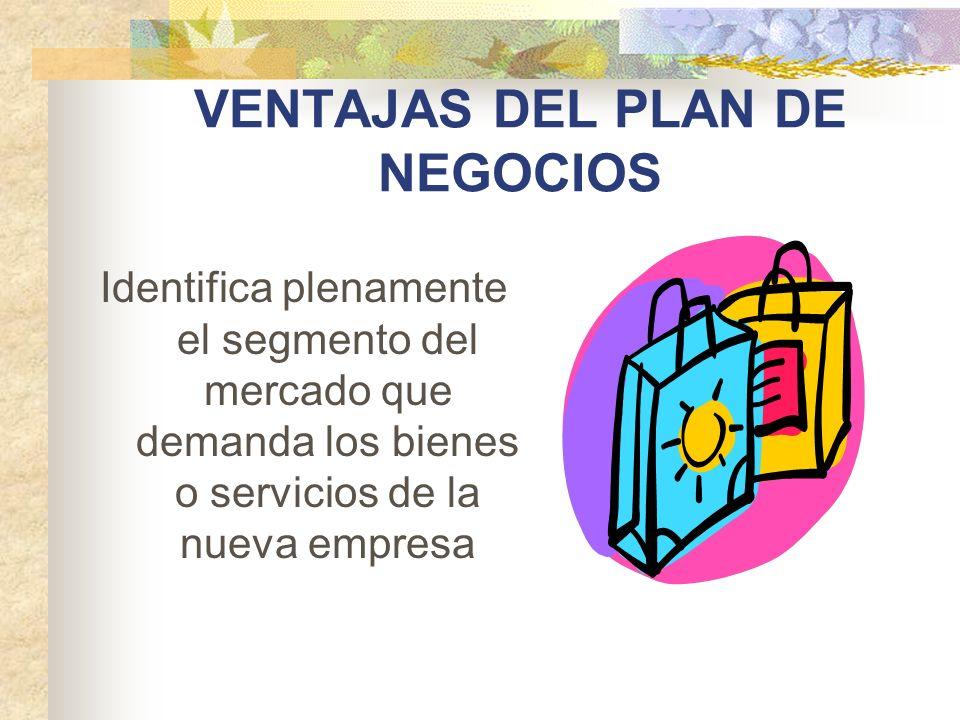VENTAJAS DEL PLAN DE NEGOCIOS Identifica plenamente el segmento del mercado que demanda los bienes o servicios de la nueva empresa