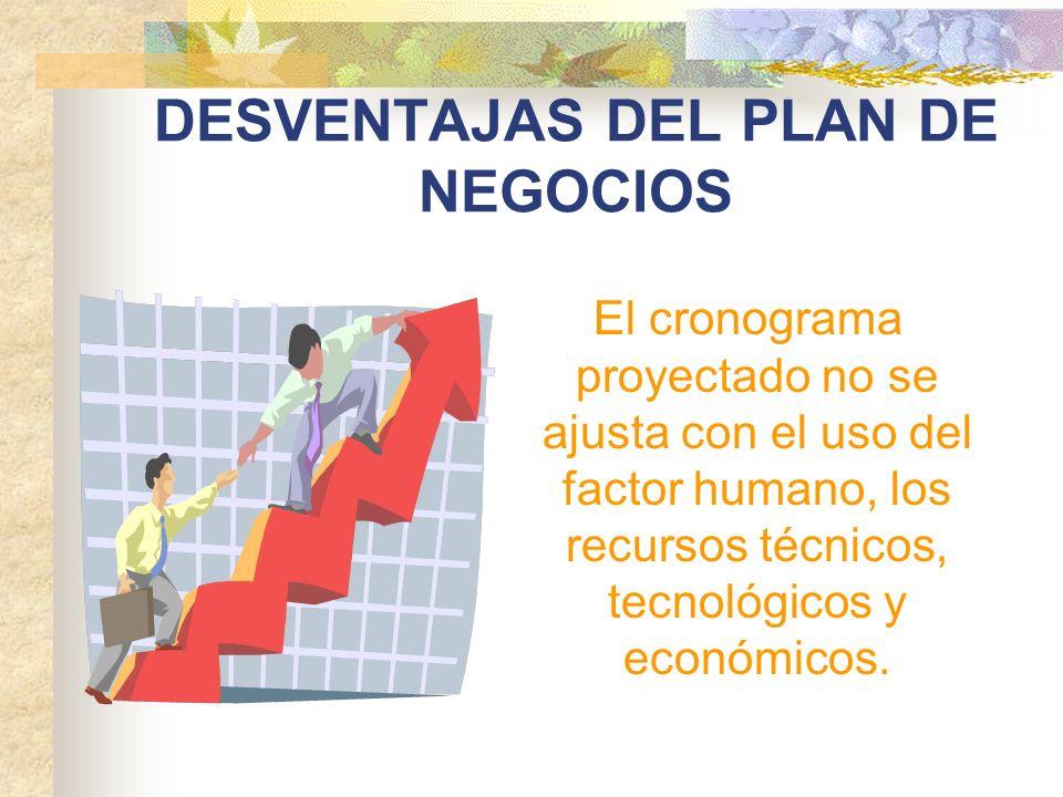 DESVENTAJAS DEL PLAN DE NEGOCIOS El cronograma proyectado no se ajusta con el uso del factor humano, los recursos técnicos, tecnológicos y económicos.