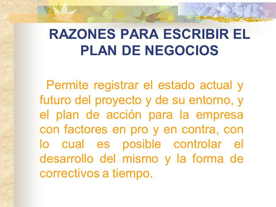 RAZONES PARA ESCRIBIR EL PLAN DE NEGOCIOS Permite registrar el estado actual y futuro del proyecto y de su entorno, y el plan de acción para la empres