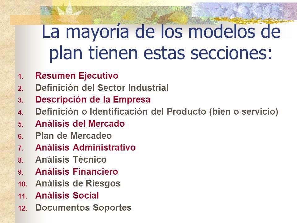 La mayoría de los modelos de plan tienen estas secciones: 1. Resumen Ejecutivo 2. Definición del Sector Industrial 3. Descripción de la Empresa 4. Def