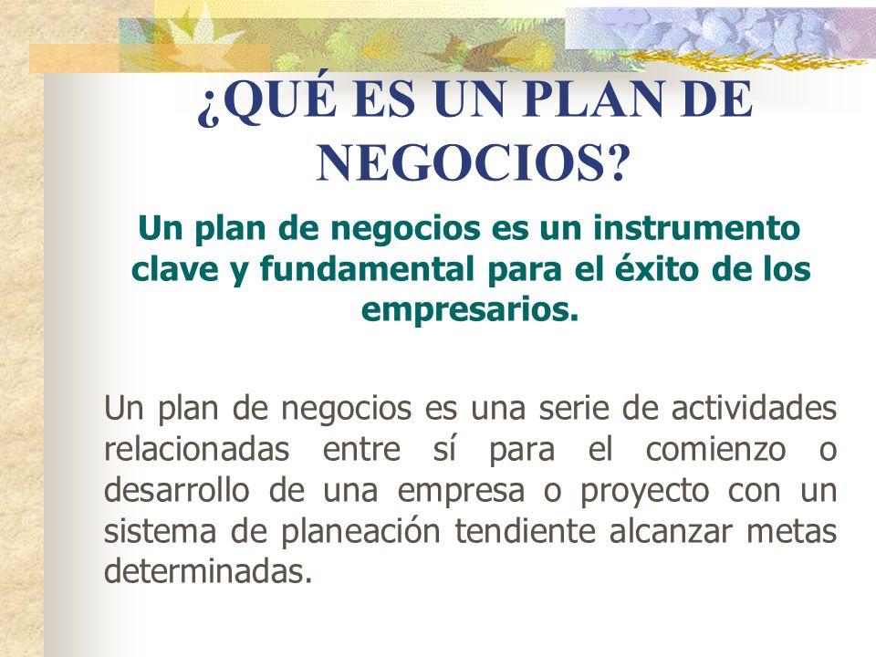 ¿QUÉ ES UN PLAN DE NEGOCIOS? Un plan de negocios es un instrumento clave y fundamental para el éxito de los empresarios. Un plan de negocios es una se
