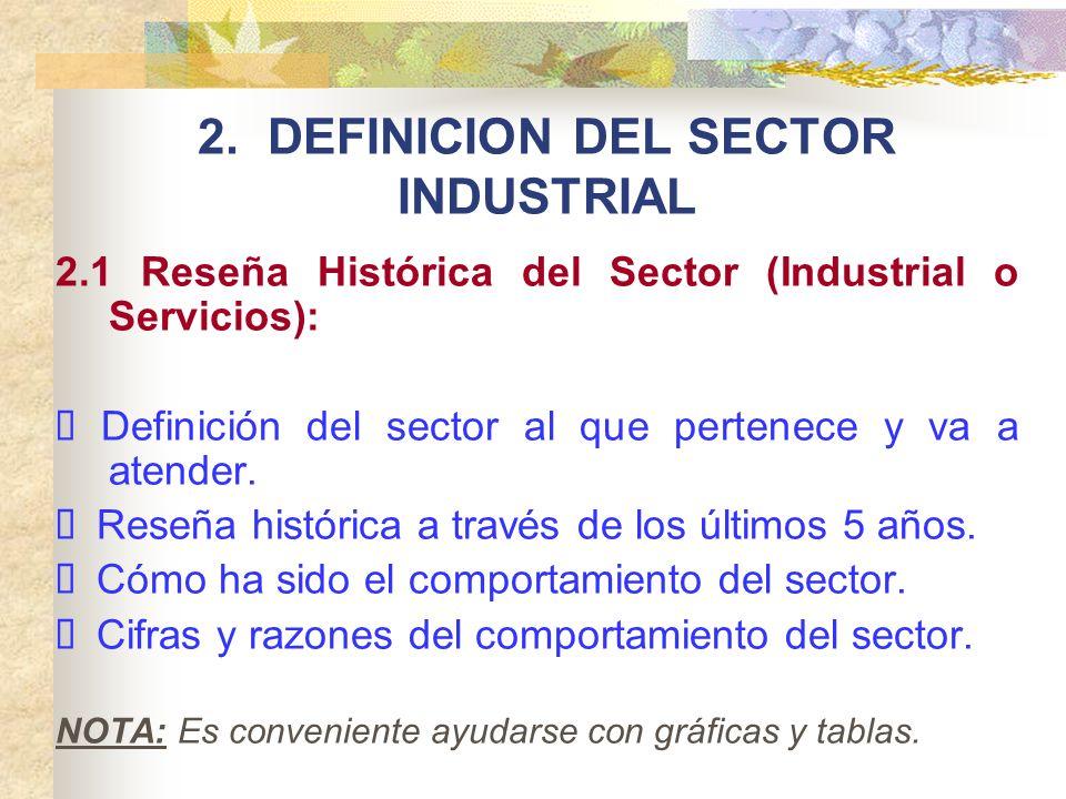 2. DEFINICION DEL SECTOR INDUSTRIAL 2.1 Reseña Histórica del Sector (Industrial o Servicios): Definición del sector al que pertenece y va a atender. R