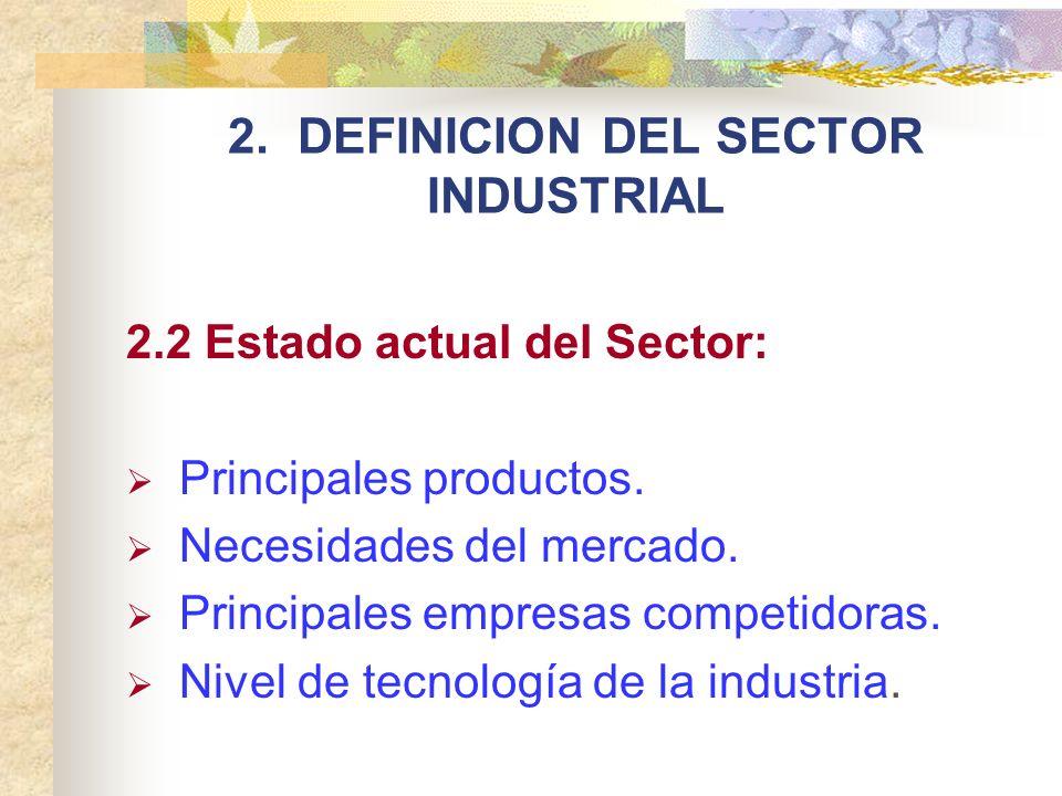 2. DEFINICION DEL SECTOR INDUSTRIAL 2.2 Estado actual del Sector: Principales productos. Necesidades del mercado. Principales empresas competidoras. N