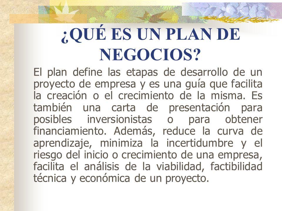 ¿QUÉ ES UN PLAN DE NEGOCIOS? El plan define las etapas de desarrollo de un proyecto de empresa y es una guía que facilita la creación o el crecimiento