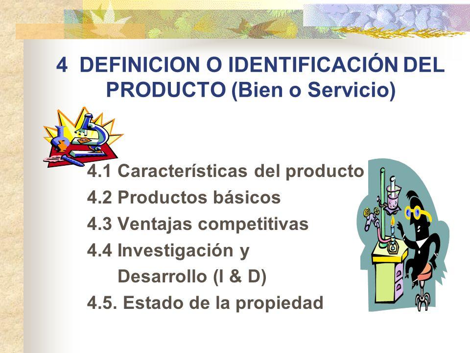 4 DEFINICION O IDENTIFICACIÓN DEL PRODUCTO (Bien o Servicio) 4.1 Características del producto 4.2 Productos básicos 4.3 Ventajas competitivas 4.4 Inve