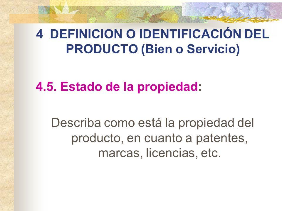 4 DEFINICION O IDENTIFICACIÓN DEL PRODUCTO (Bien o Servicio) 4.5. Estado de la propiedad: Describa como está la propiedad del producto, en cuanto a pa