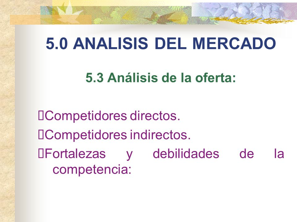 5.0 ANALISIS DEL MERCADO 5.3 Análisis de la oferta: Competidores directos. Competidores indirectos. Fortalezas y debilidades de la competencia: