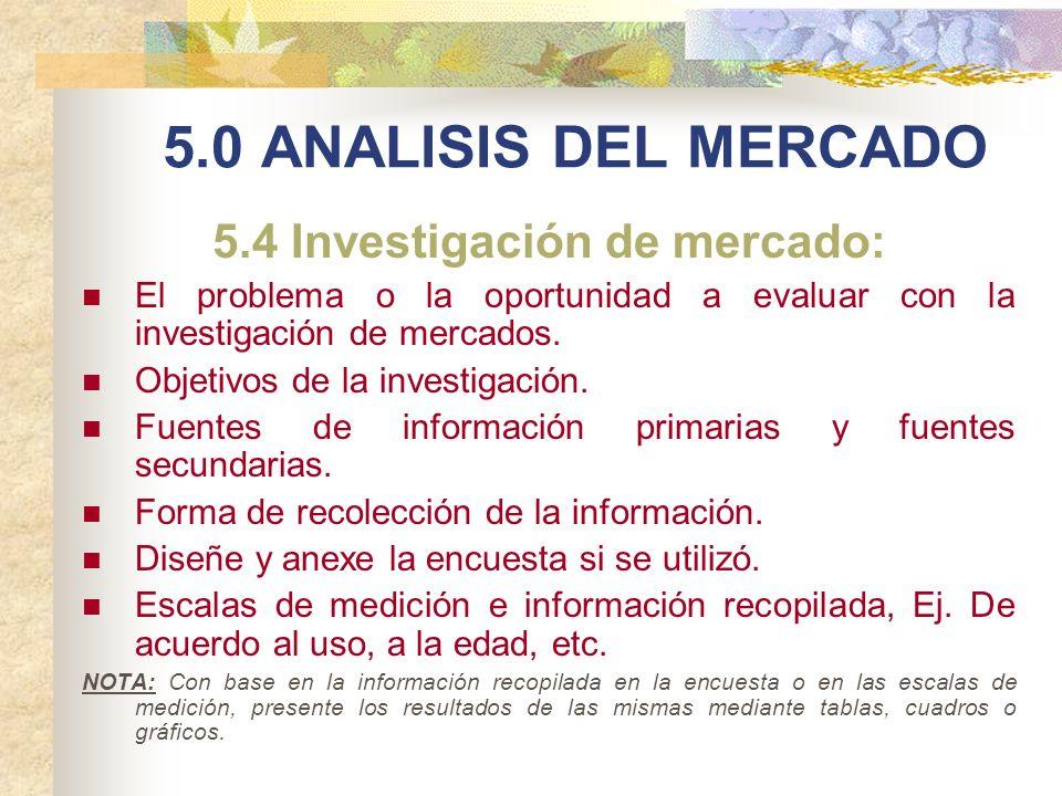 5.0 ANALISIS DEL MERCADO 5.4 Investigación de mercado: El problema o la oportunidad a evaluar con la investigación de mercados. Objetivos de la invest