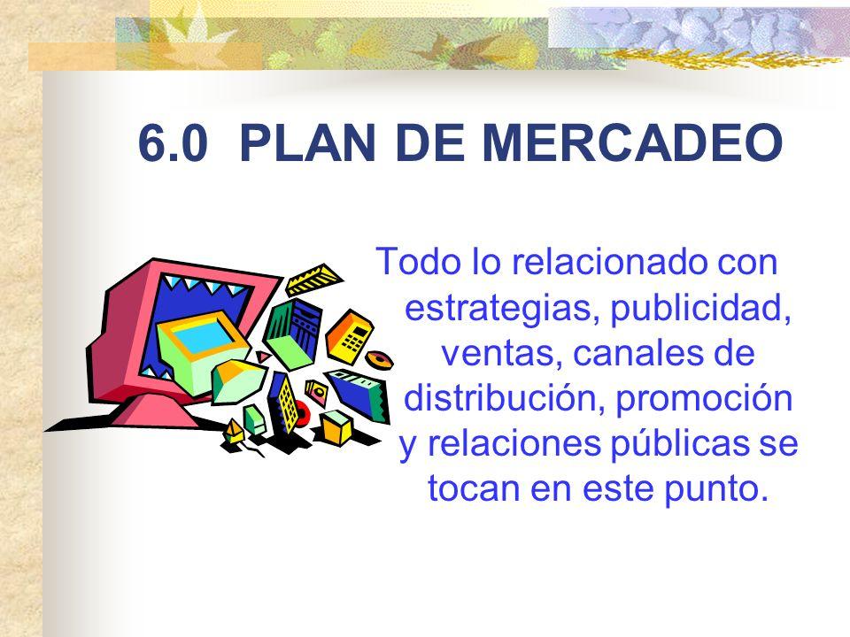 6.0 PLAN DE MERCADEO Todo lo relacionado con estrategias, publicidad, ventas, canales de distribución, promoción y relaciones públicas se tocan en est