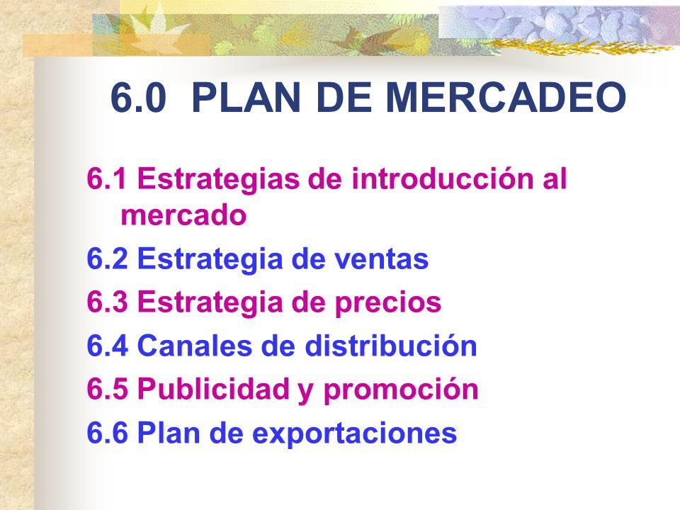 6.0 PLAN DE MERCADEO 6.1 Estrategias de introducción al mercado 6.2 Estrategia de ventas 6.3 Estrategia de precios 6.4 Canales de distribución 6.5 Pub