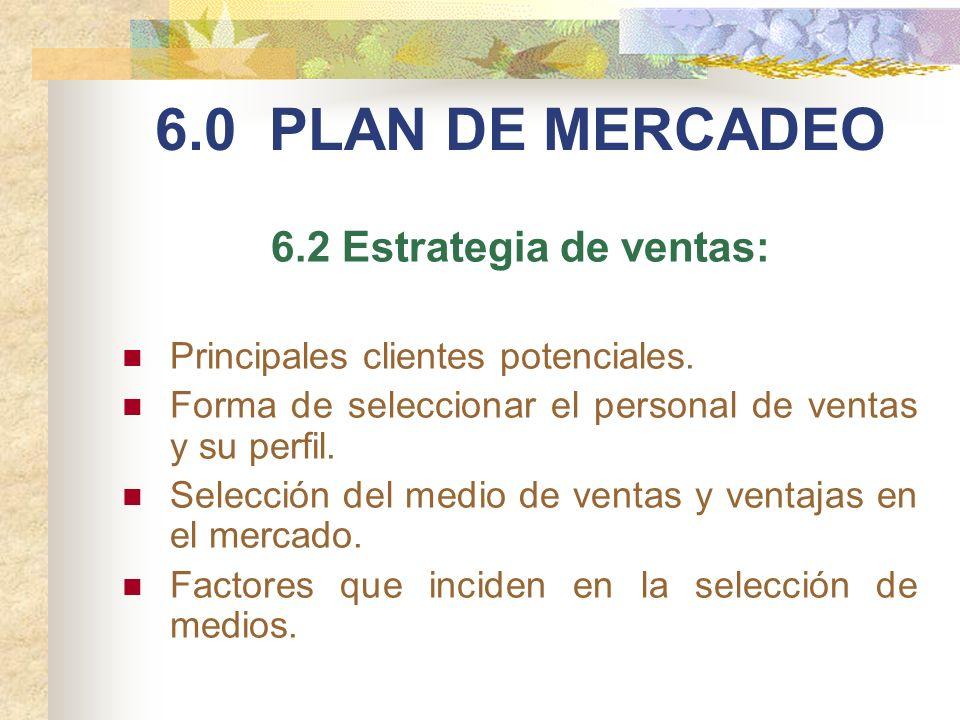 6.0 PLAN DE MERCADEO 6.2 Estrategia de ventas: Principales clientes potenciales. Forma de seleccionar el personal de ventas y su perfil. Selección del