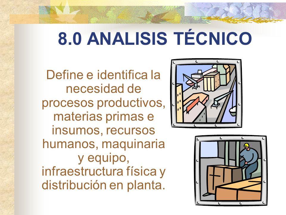 8.0 ANALISIS TÉCNICO Define e identifica la necesidad de procesos productivos, materias primas e insumos, recursos humanos, maquinaria y equipo, infra