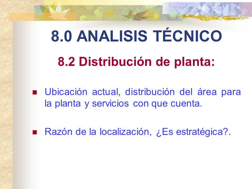 8.0 ANALISIS TÉCNICO 8.2 Distribución de planta: Ubicación actual, distribución del área para la planta y servicios con que cuenta. Razón de la locali