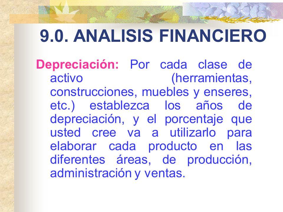 9.0. ANALISIS FINANCIERO Depreciación: Por cada clase de activo (herramientas, construcciones, muebles y enseres, etc.) establezca los años de depreci