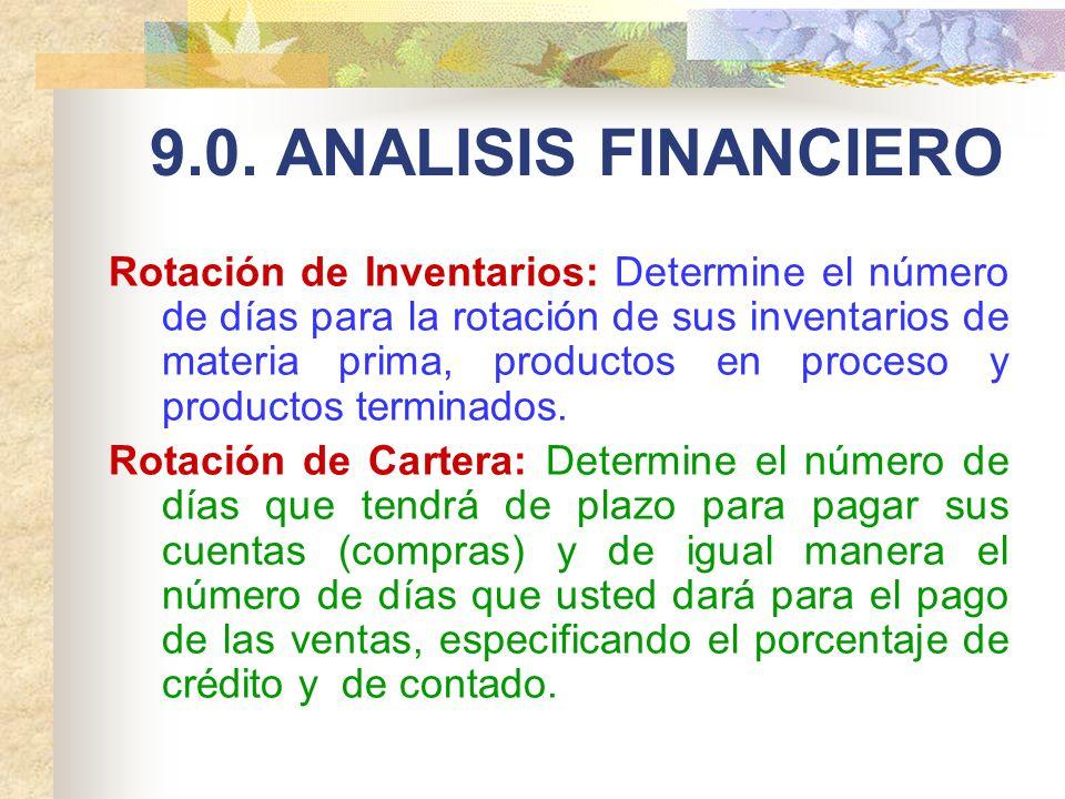 9.0. ANALISIS FINANCIERO Rotación de Inventarios: Determine el número de días para la rotación de sus inventarios de materia prima, productos en proce