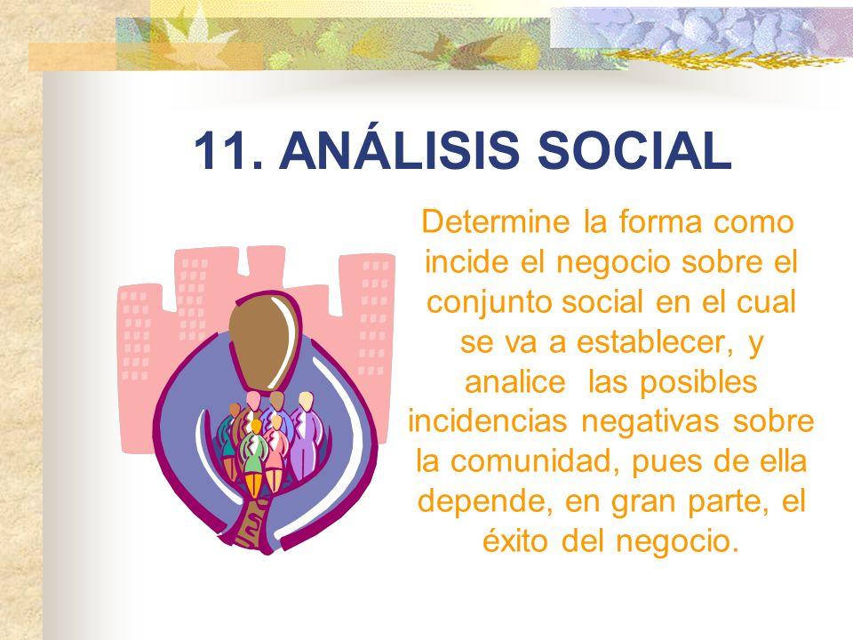 11. ANÁLISIS SOCIAL Determine la forma como incide el negocio sobre el conjunto social en el cual se va a establecer, y analice las posibles incidenci