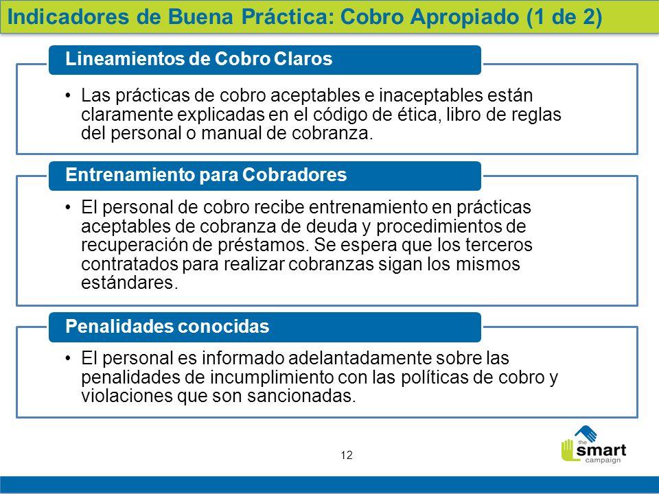 12 Las prácticas de cobro aceptables e inaceptables están claramente explicadas en el código de ética, libro de reglas del personal o manual de cobran