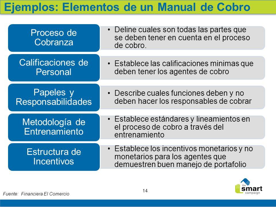 14 Fuente: Financiera El Comercio Deline cuales son todas las partes que se deben tener en cuenta en el proceso de cobro. Proceso de Cobranza Establec