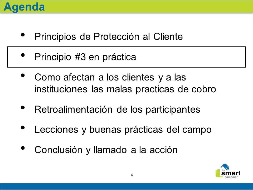 4 Principio #3 en práctica Como afectan a los clientes y a las instituciones las malas practicas de cobro Retroalimentación de los participantes Lecci