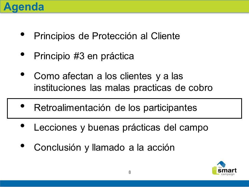 19 Resumen: The Smart Campaign ha desarrollado seis principios de protección al cliente, uno de los cuales prácticas apropiadas de cobro.