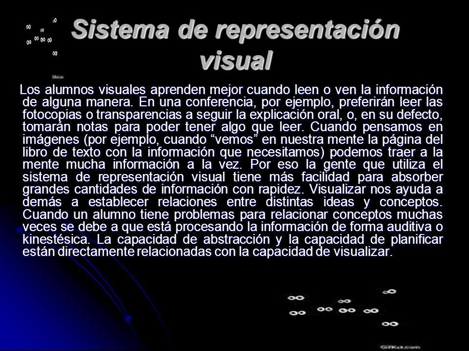 Sistema de representación visual Los alumnos visuales aprenden mejor cuando leen o ven la información de alguna manera. En una conferencia, por ejempl