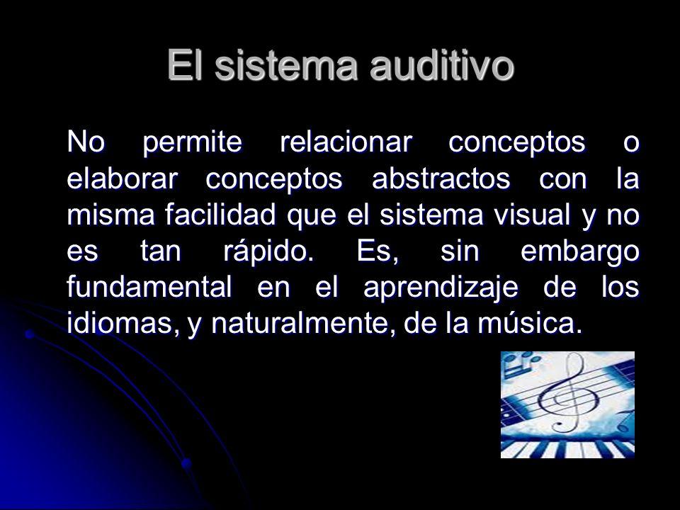 El sistema auditivo No permite relacionar conceptos o elaborar conceptos abstractos con la misma facilidad que el sistema visual y no es tan rápido. E