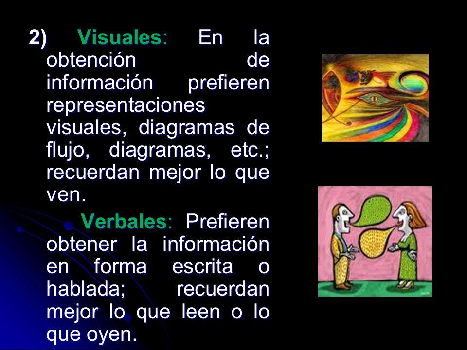 2) Visuales: En la obtención de información prefieren representaciones visuales, diagramas de flujo, diagramas, etc.; recuerdan mejor lo que ven. Verb