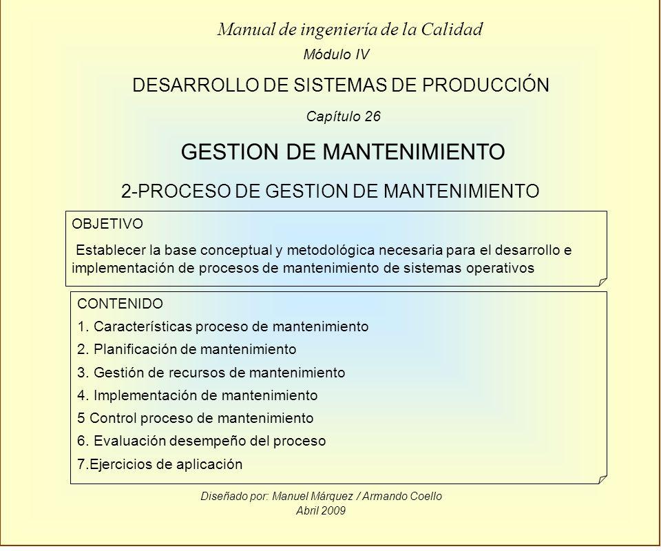 Diseñado por: Manuel Márquez / Armando Coello Abril 2009 Módulo IV DESARROLLO DE SISTEMAS DE PRODUCCIÓN Manual de ingeniería de la Calidad OBJETIVO Es